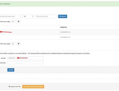 SpamExperts: añadir un dominio o eMail a la lista blanca