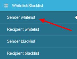 Sender Whitelist SpamExperts