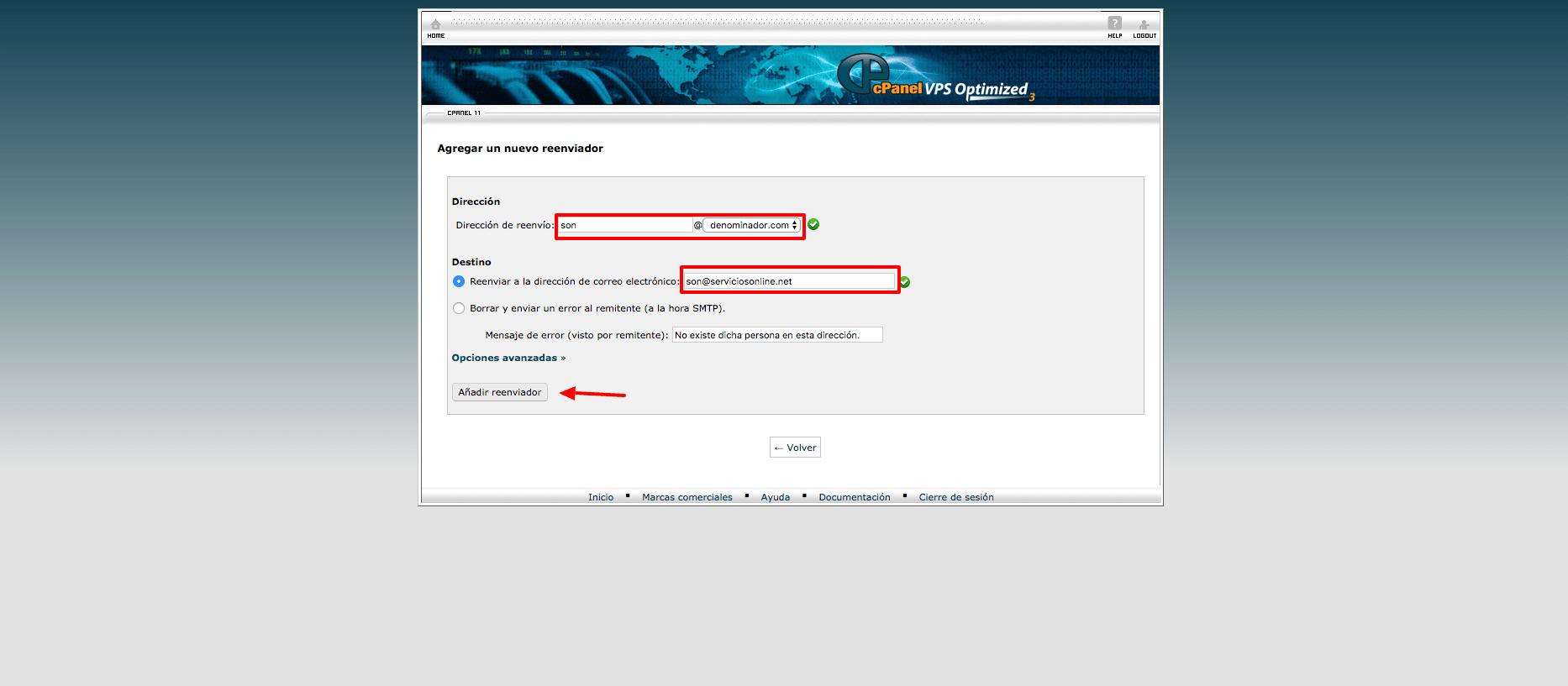 Hosting cPanel agregar un reenviador correo