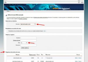 Zona DNS Hosting cPanel - Servicios Online