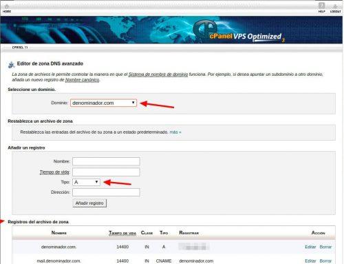 Hosting cPanel: gestión de DNS
