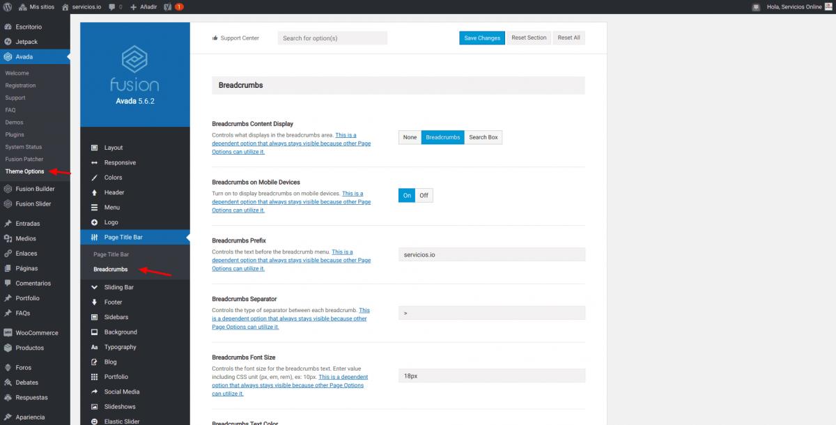 Ruta de navegacion Avada WordPress servicios