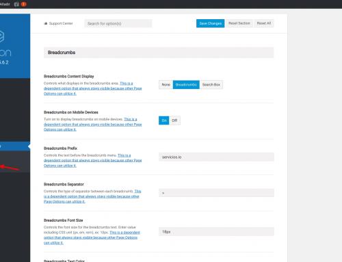 Ruta de navegación WordPress Avada