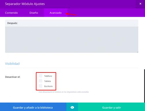 WordPress Divi en el móvil, ocultar elementos por dispositivos