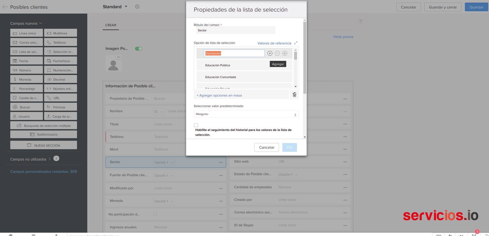 Zoho-CRM-Configuracion-Modulos-y-campos-crear-editar-campos-propiedades-lista-seleccion-sectores