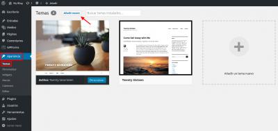 WordPress Apariencia > Temas >> Añadir nuevo tema