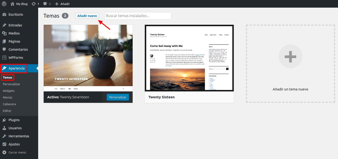WordPress Apariencia > Temas >> Añadir nuevo