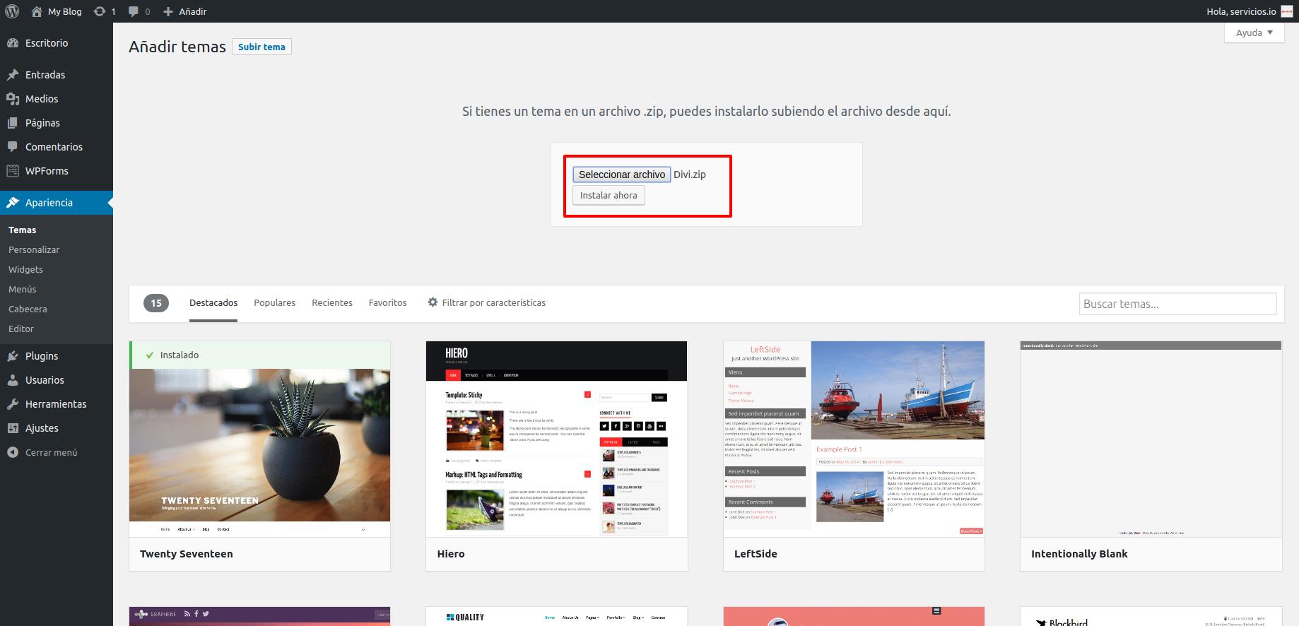 WordPress Apariencia > Temas >> Subir tema