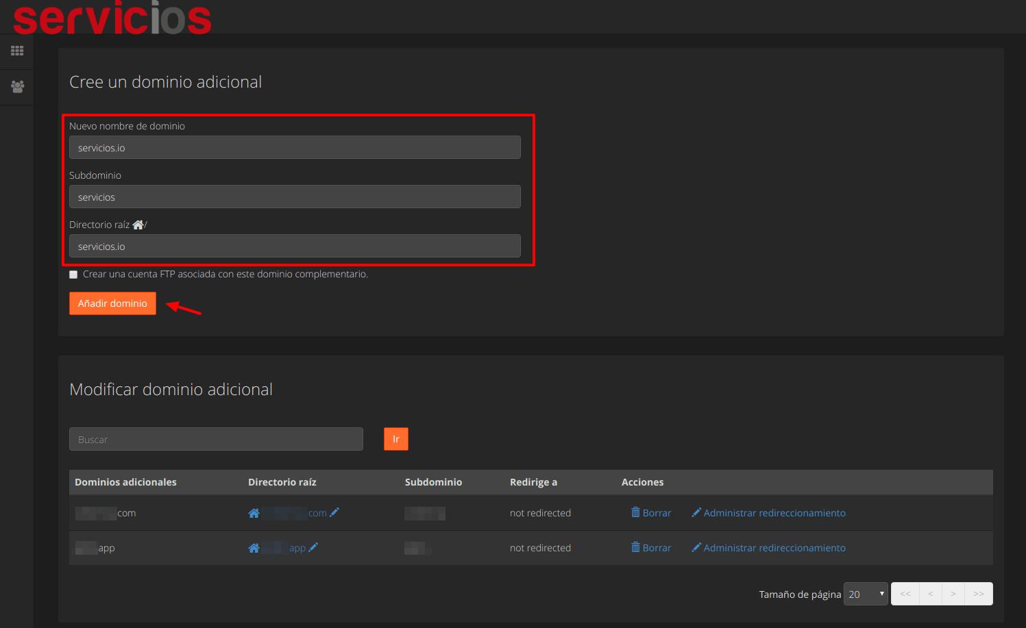 Crear o modificar dominio adicional cPanel - servicios