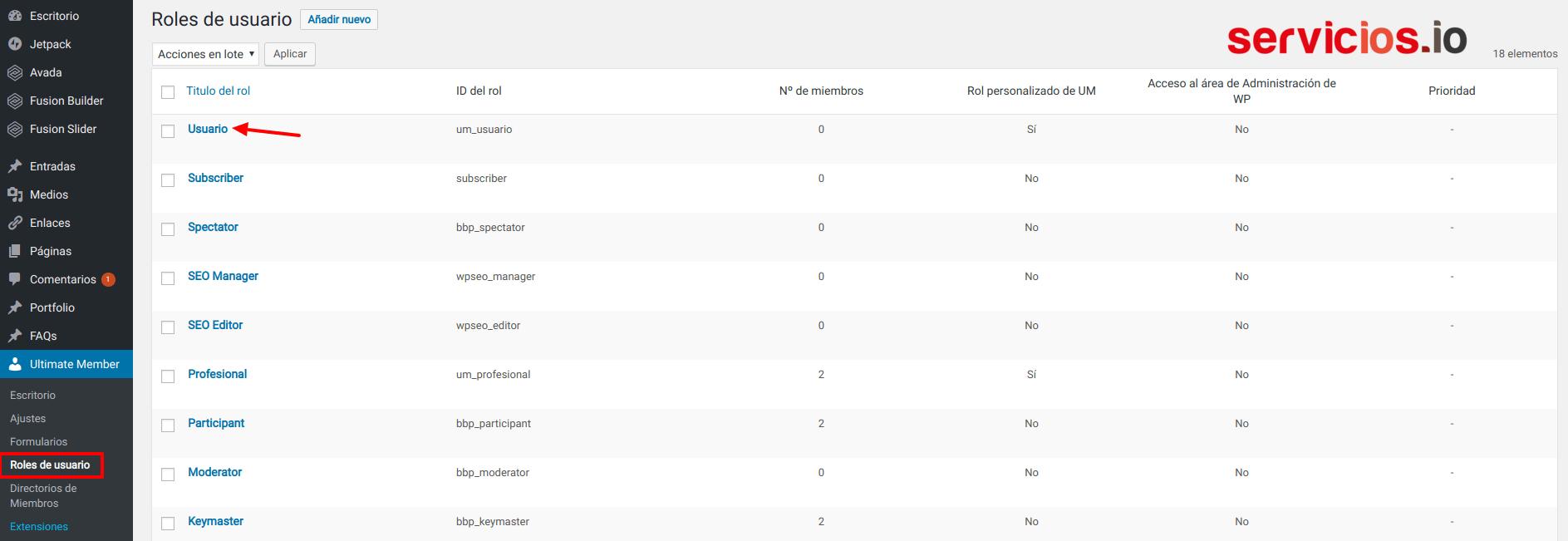 Ultimate Member - roles de usuario WordPress - servicios.io