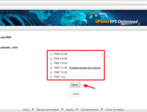 Hosting cPanel StartUp: cambiar versión PHP por directorio