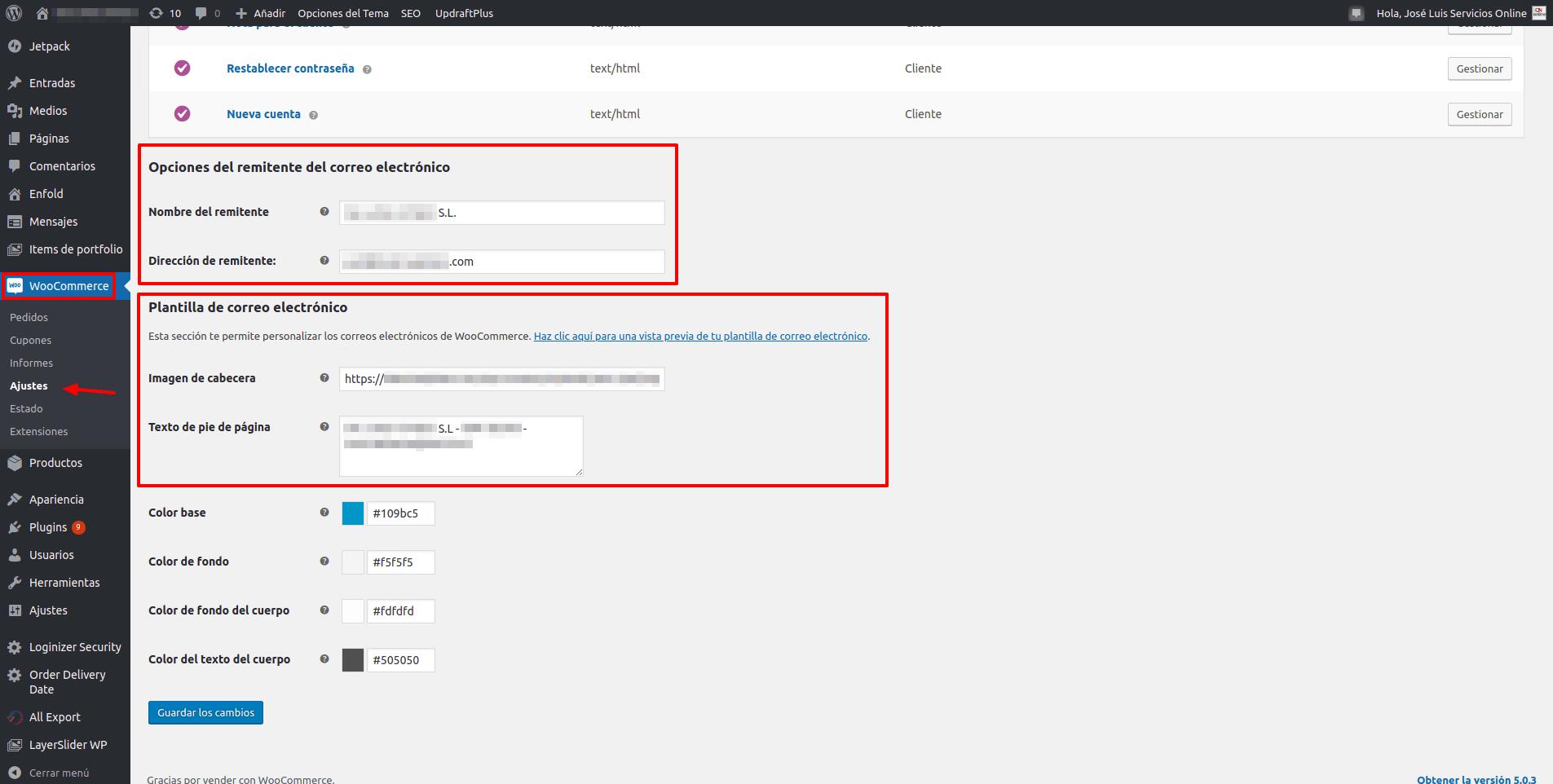 WordPress WooCommerce - Opciones del remitente del correo electronico - Plantilla de correo eletronico - servicios.io