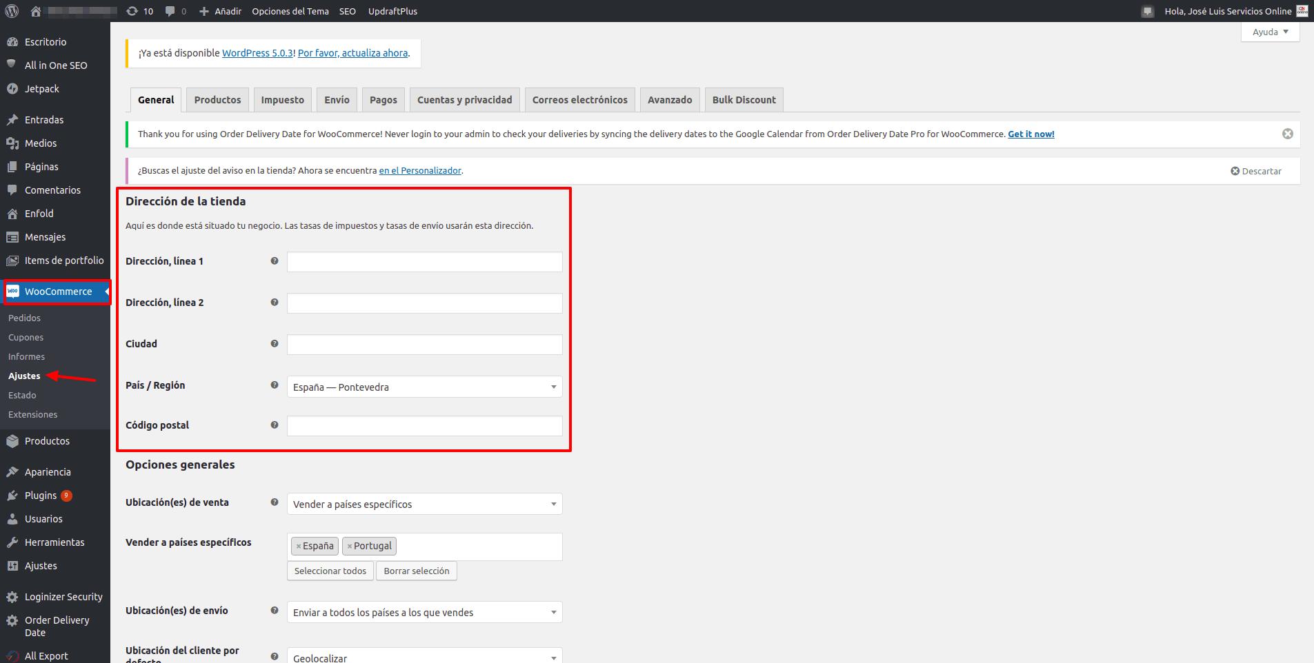 WordPress WooCommerce - direccion de la tienda - servicios.io