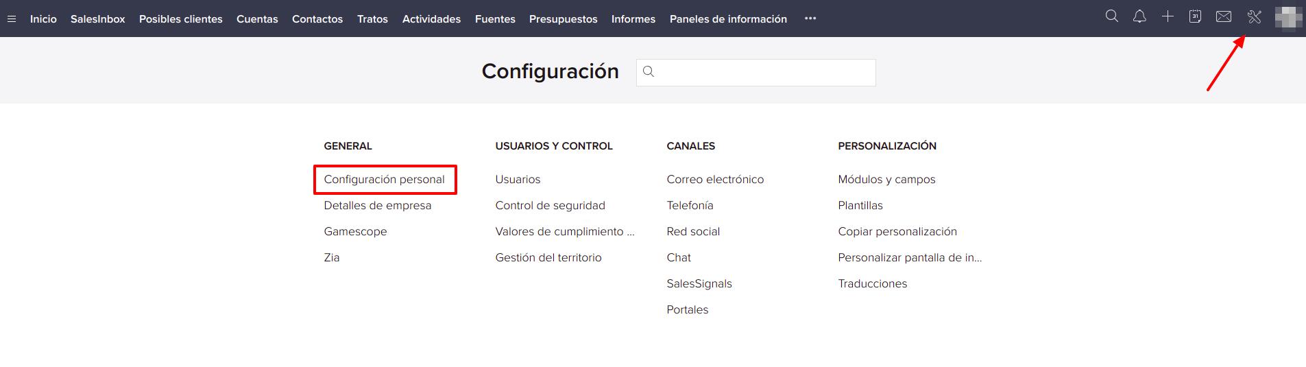 Zoho CRM configuracion personal servicios.io