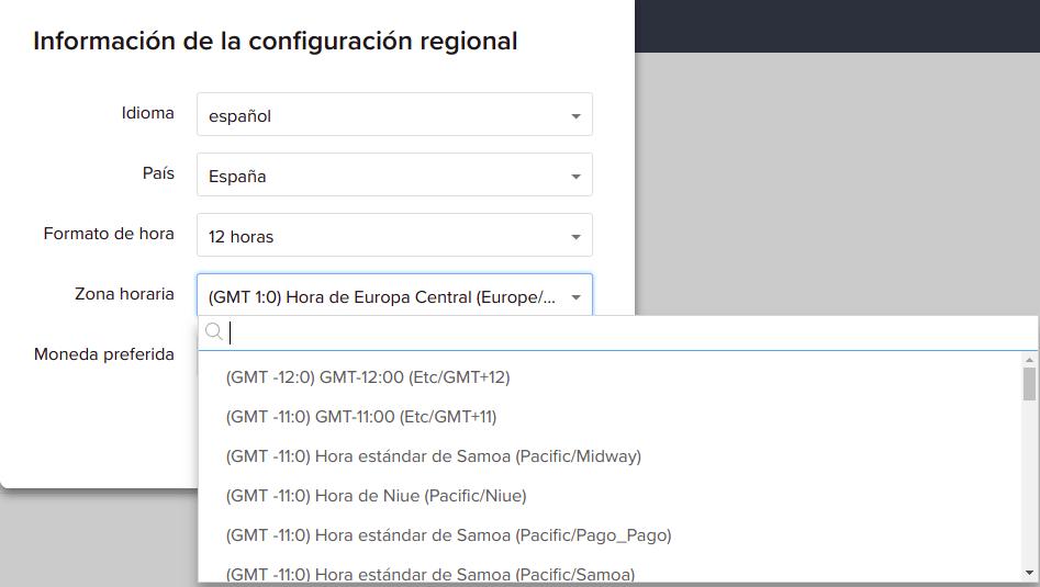 Zoho CRM zona horaria usuario servicios.io