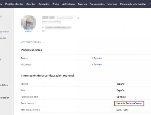 Zoho CRM: cambiar la zona horaria de un usuario