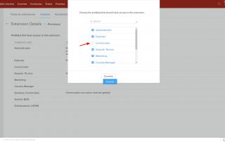 Zoho CRM Permisos Extension Details Choose the profile servicios Internet Online