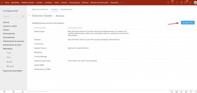 Zoho CRM Permisos Extension Details Manage Profile servicios Internet Online