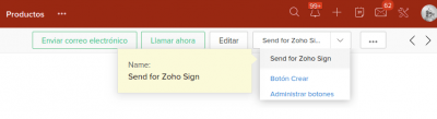 Zoho CRM botón Send for Zoho Sign servicios Internet Online