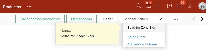 Zoho CRM botón Send for Zoho Sign servicios Internet Online