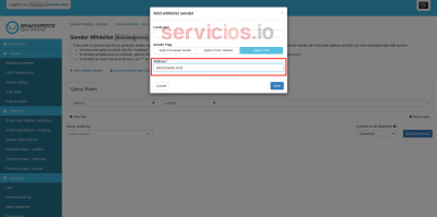 Hosting cPanel SpamExperts add Sender whitelist dominios servicios Internet Online